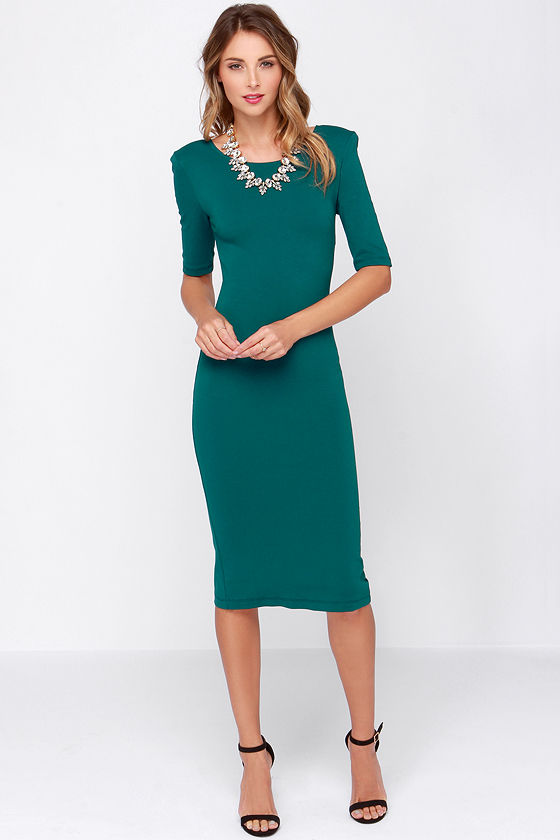 Cute Teal Dress - Midi Dress - Bodycon Dress - Cocktail Dress - $44.00