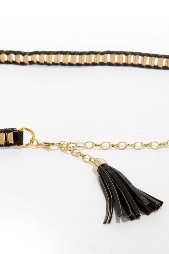 Chain-iac Black and Gold Belt at Lulus.com!