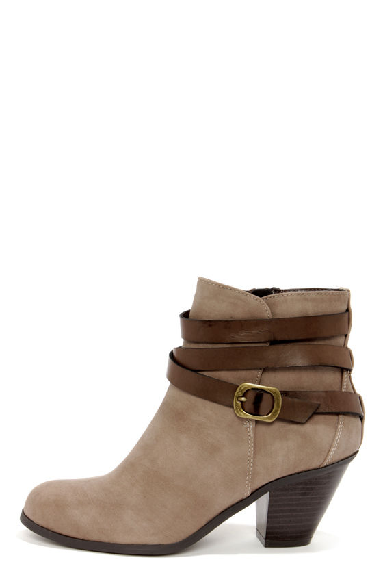 Cute Ankle Boots - Taupe Boots - Brown Boots - Booties - 32.00