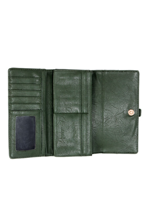Zip Into Shape Dark Green Wallet at Lulus.com!
