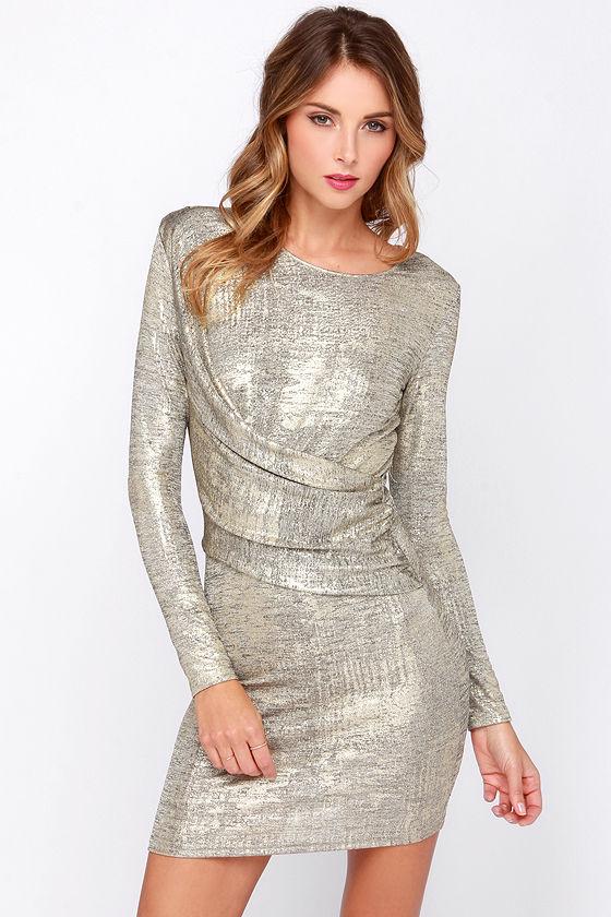 Gold Long Sleeve Dress