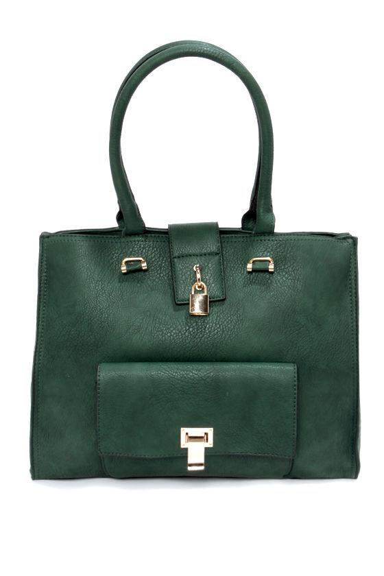 Dark Green Handbag - Green Purse - Vegan Leather Purse - $39.00