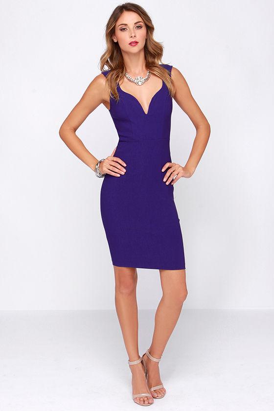 - Cute Royal Blue Dress - Bodycon Dress - Midi Dress - $44.00