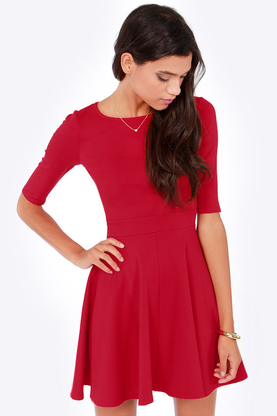 Cute Red Dress - Skater Dress - Dress with Sleeves - $49.00