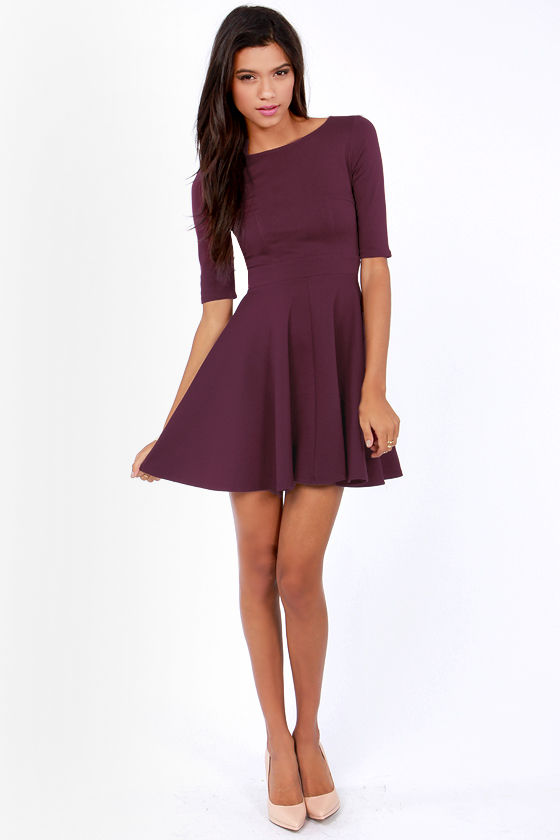 Just a Twirl Burgundy Dress at Lulus.com!