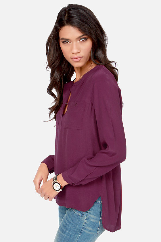 In It to Win It Long Sleeve Burgundy Top at Lulus.com!