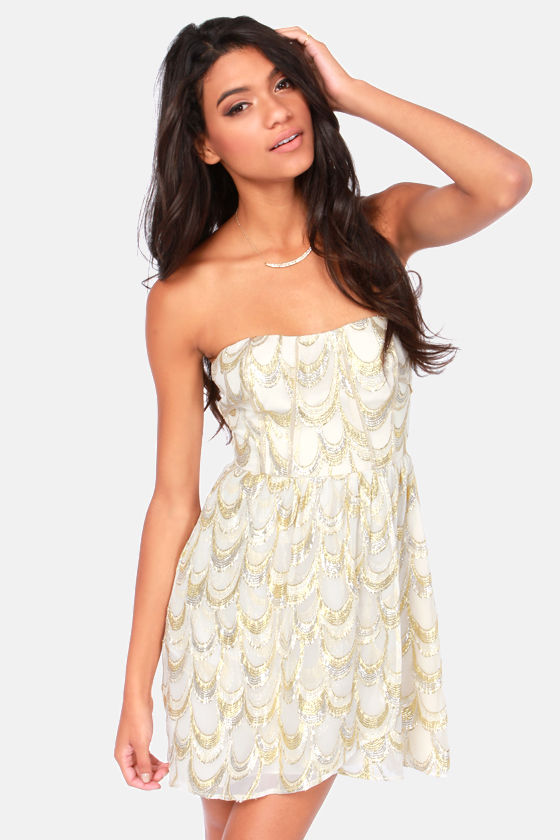 Aryn K Dress - Cream Dress - Silk Dress - Strapless Dress - $117.00