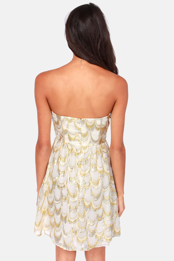 Aryn K Land of Silk and Honey Strapless Gold and Cream Dress at Lulus.com!