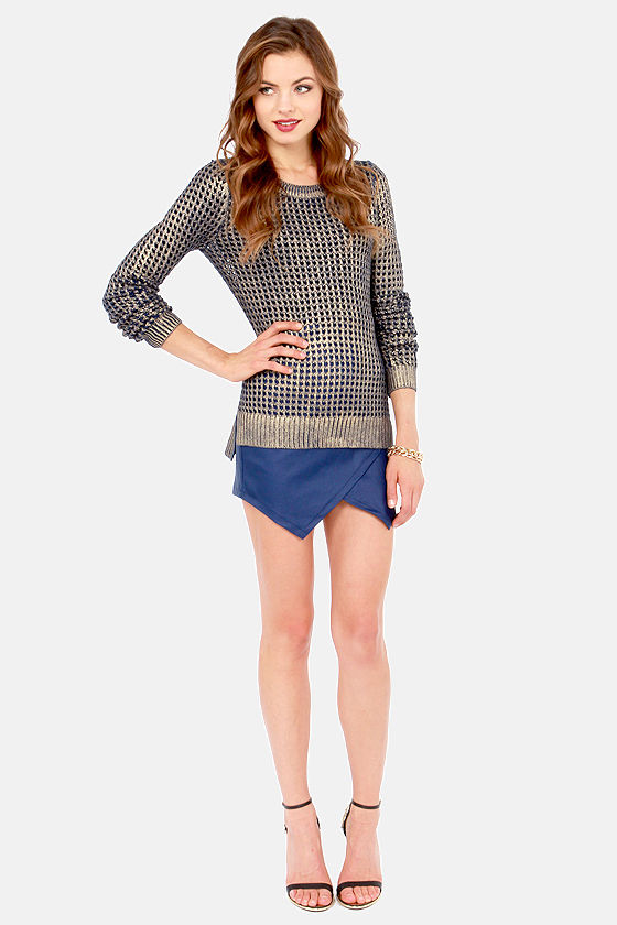 BB Dakota Bardot Gold and Navy Blue Sweater at Lulus.com!