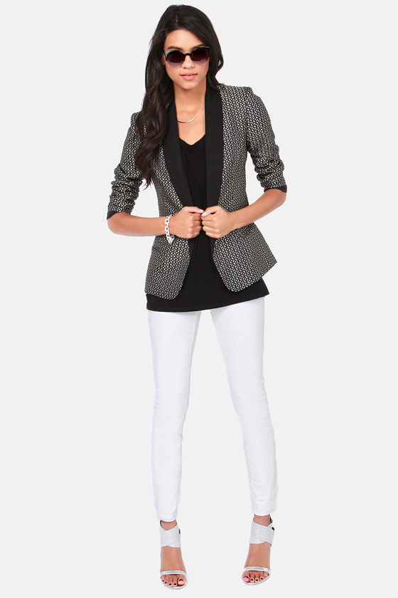 176a610f53599 BB Dakota Harriet Blazer - Brocade Blazer - Black Blazer - $91.00