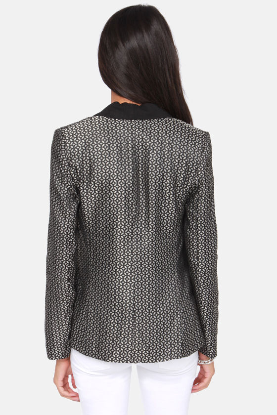 BB Dakota Harriet Black Brocade Boyfriend Blazer at Lulus.com!