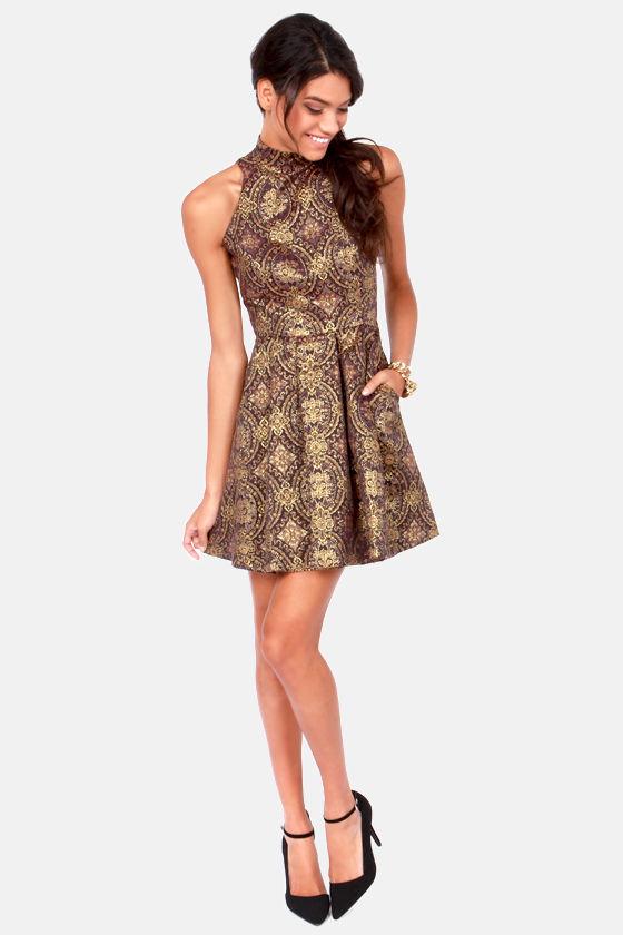 5516a1df68a4 BB Dakota Barker Dress - Brocade Dress - Gold Dress - $95.00