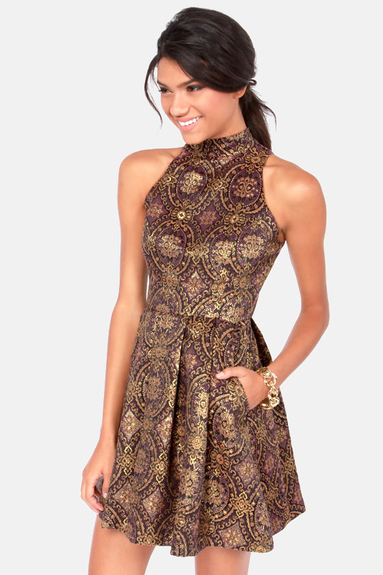 BB Dakota Barker Gold and Purple Brocade Dress at Lulus.com!