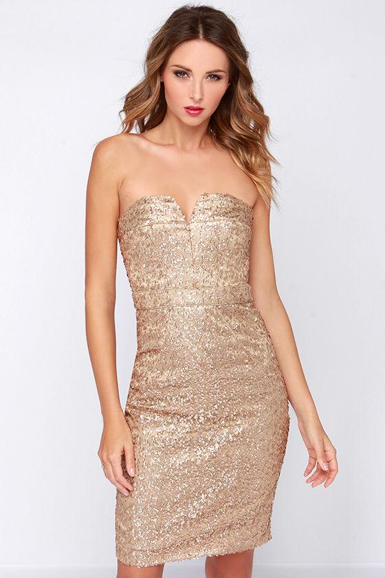 Bariano Ava Dress - Strapless Dress - Gold Dress - Sequin Dress ...