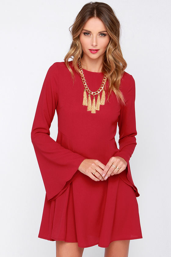 Pretty Wine Red Dress - Long Sleeve Dress - Bell Sleeve Dress - $40.00