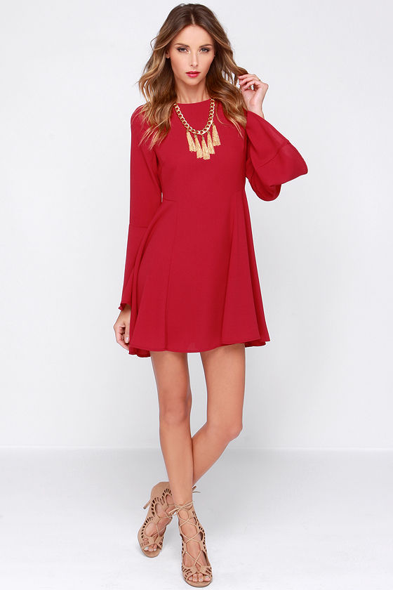 3732c98d729f Pretty Wine Red Dress - Long Sleeve Dress - Bell Sleeve Dress -  40.00