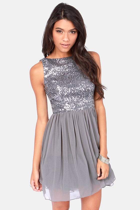 BB Dakota Holly Dress - Silver Dress - Sequin Dress - $87.00