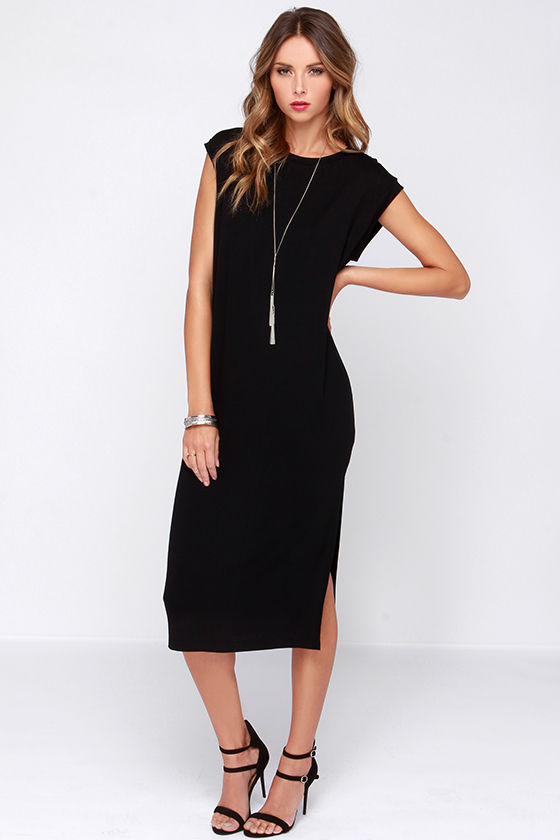 Cute Casual Dress - Black Dress - Shift Dress - Midi Dress - $29.00