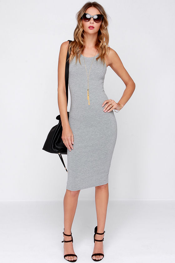 92e8b45eec4e Cute Grey Dress - Midi Dress - Bodycon Dress - Cocktail Dress -  44.00