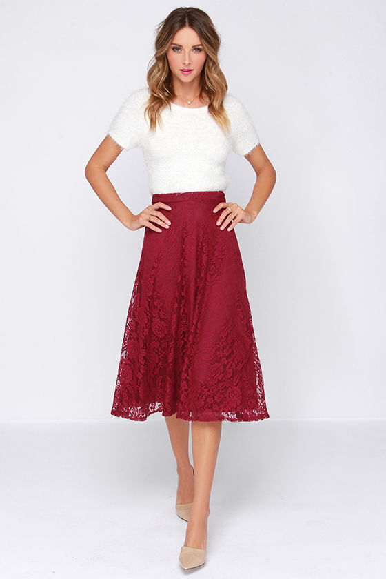 Pretty Burgundy Skirt - Midi Skirt - Lace Skirt - High Waisted ...