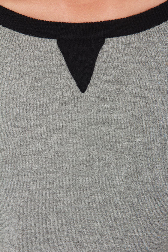 Streetwise Black and Grey Sweater Top at Lulus.com!