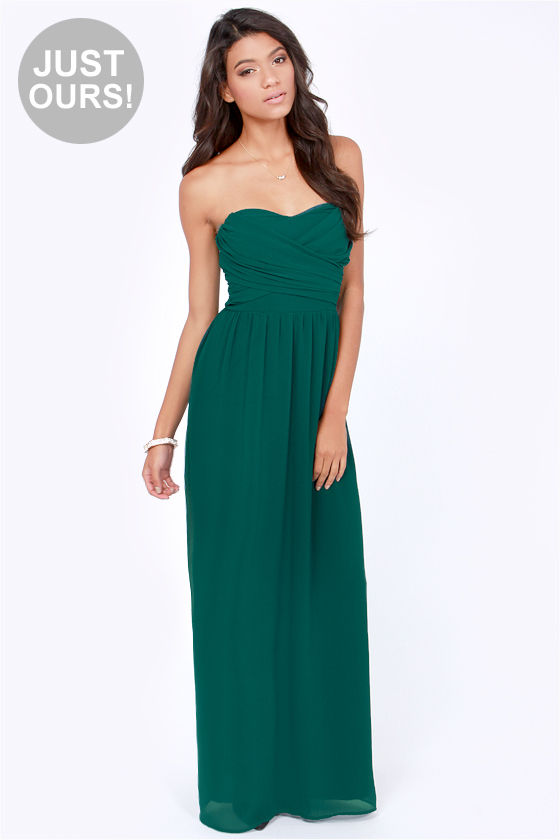 Lovely Dark Teal Dress Strapless Dress Maxi Dress 71 00