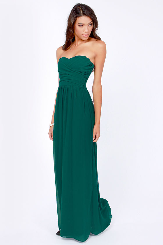 LULUS Exclusive Slow Dance Strapless Dark Teal Maxi Dress at Lulus.com!