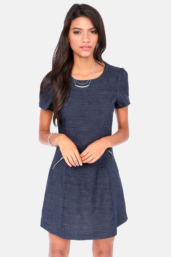 Cute Blue Dress - Jean Dress - Denim Dress - Sheath Dress - $49.00