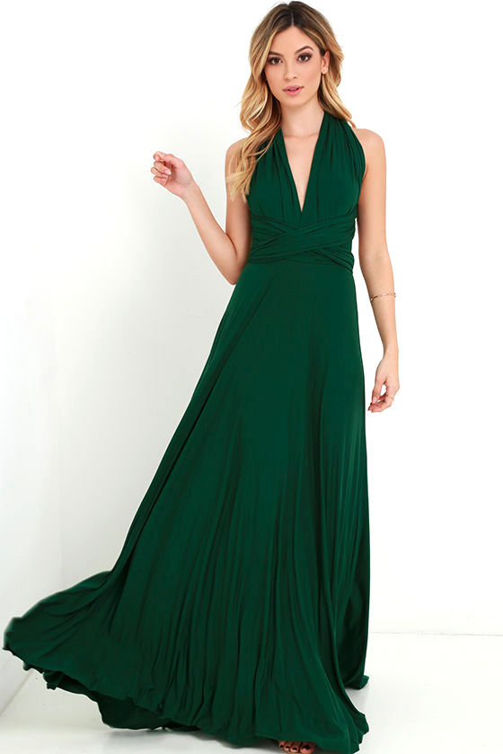 1090bbf193c3 Tricks of the Trade - Awesome Forest Green Dress - Maxi Dress - Strapless  Dress - Wrap Dress