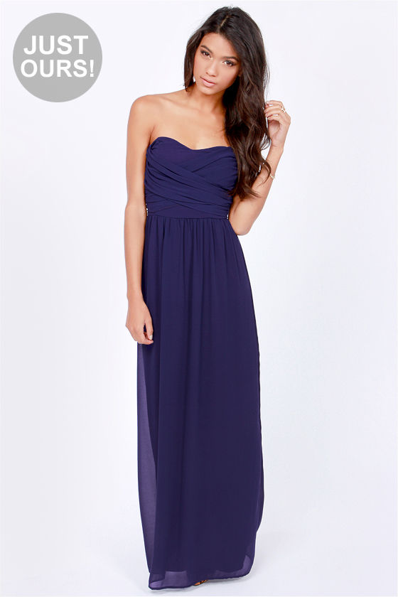 Lovely Navy Blue Dress - Strapless Dress - Maxi Dress - $71.00