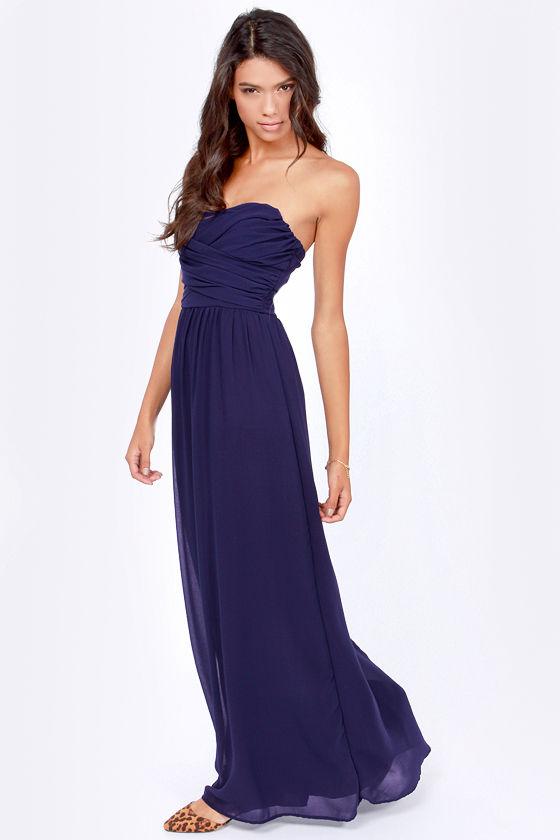 Lovely Navy Blue Dress - Strapless Dress - Maxi Dress - $71.00