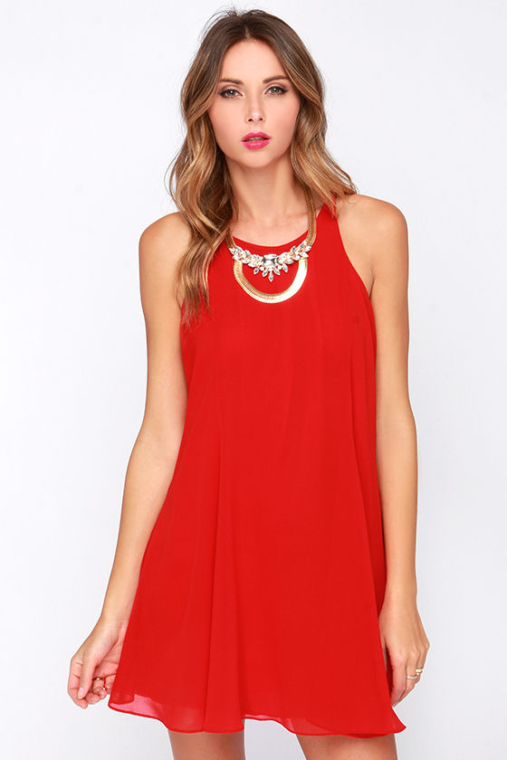Pretty Red Dress - Swing Dress - Sleeveless Dress - $60.00