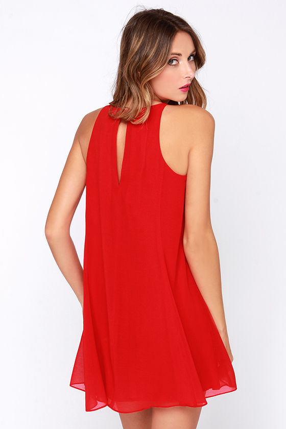 Pretty Red Dress - Swing Dress - Sleeveless Dress - $60.00