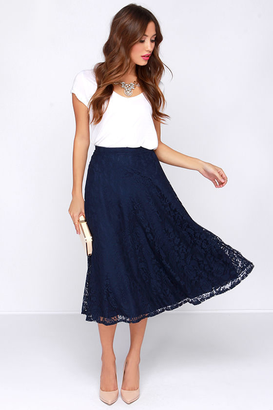 pretty navy blue skirt midi skirt lace skirt high