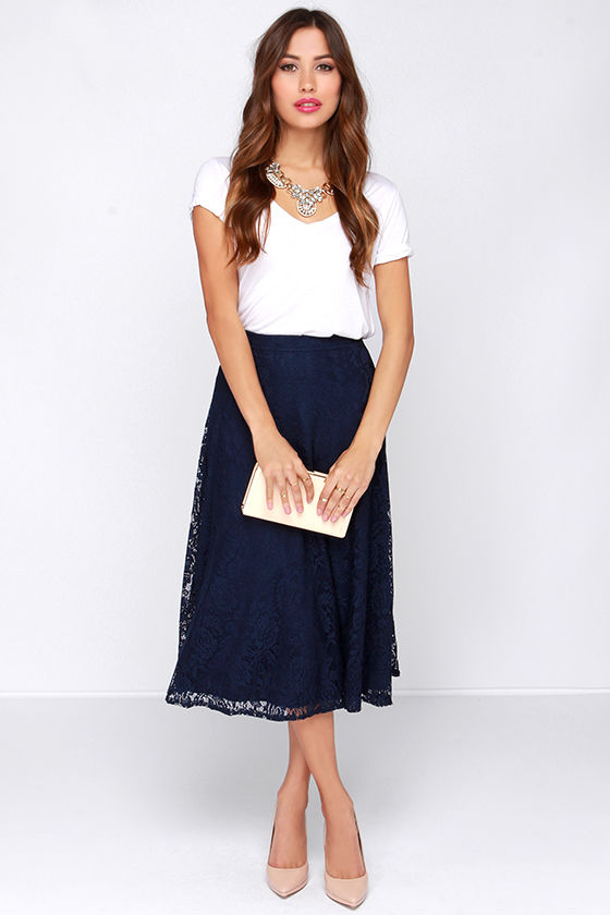 Pretty Navy Blue Skirt - Midi Skirt - Lace Skirt - High Waisted ...