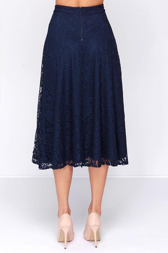 pretty navy blue skirt midi skirt lace skirt high