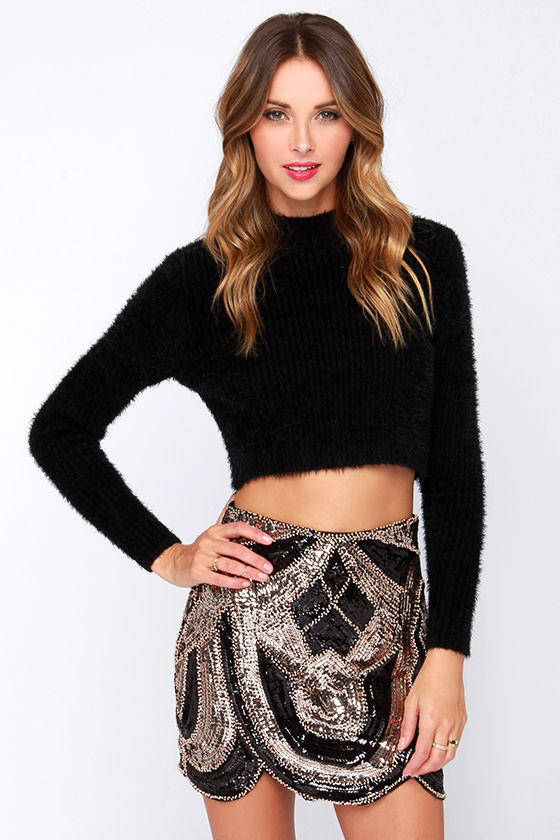 Chic Black and Gold Skirt - Sequin Skirt