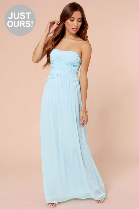 Lovely Light Blue Dress - Strapless Dress - Maxi Dress - $71.00