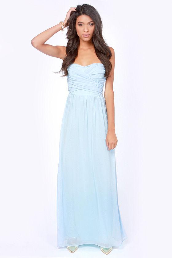 Lovely Light Blue Dress Strapless Dress Maxi Dress