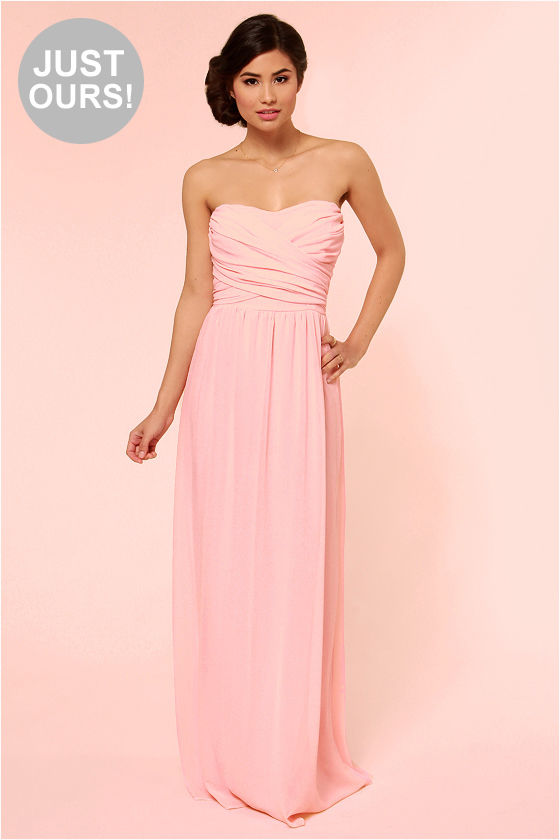 Lovely Pink Dress - Strapless Dress - Maxi Dress - $71.00