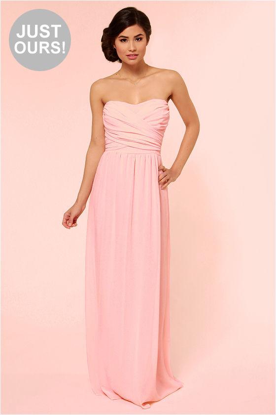 Lovely Pink Dress - Strapless Dress - Maxi Dress - $71.00