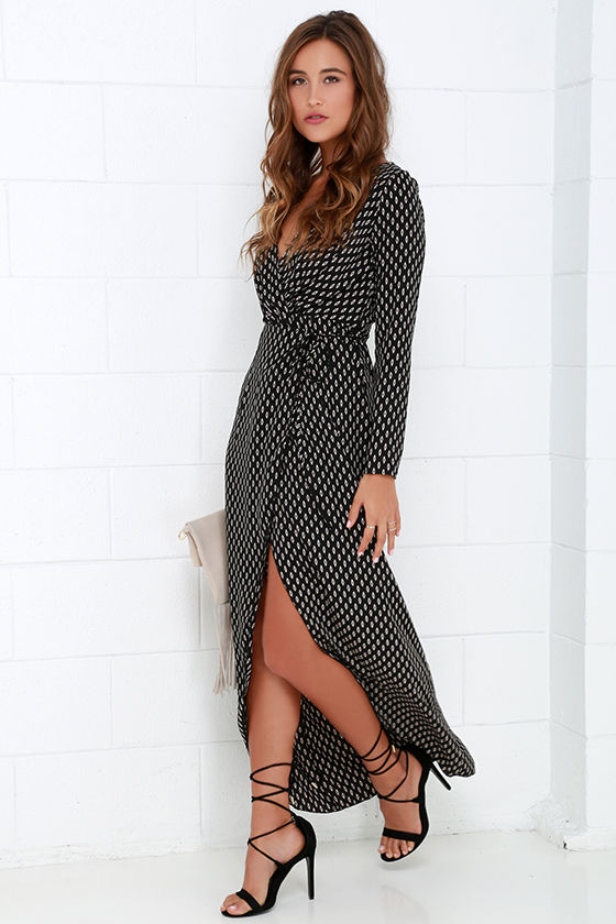 Cute Black Dress - Black Wrap Dress - Long Sleeve Dress - $58.00