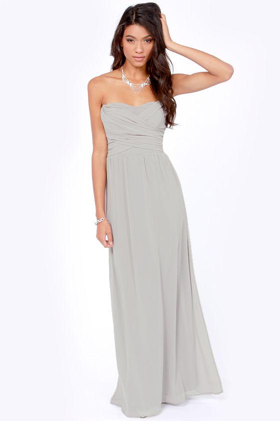 Lovely Light Grey Dress - Strapless Dress - Maxi Dress - $71.00