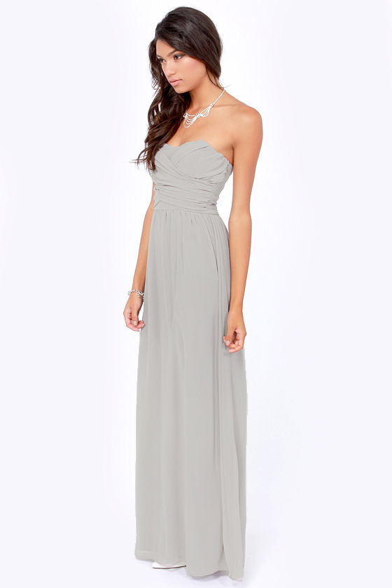 Lovely Light Grey Dress - Strapless Dress - Maxi Dress ...