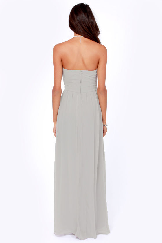 LULUS Exclusive Slow Dance Strapless Light Grey Maxi Dress at Lulus.com!
