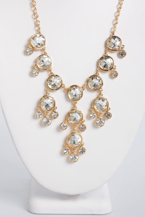 Beaming Brilliance Gold Rhinestone Necklace at Lulus.com!