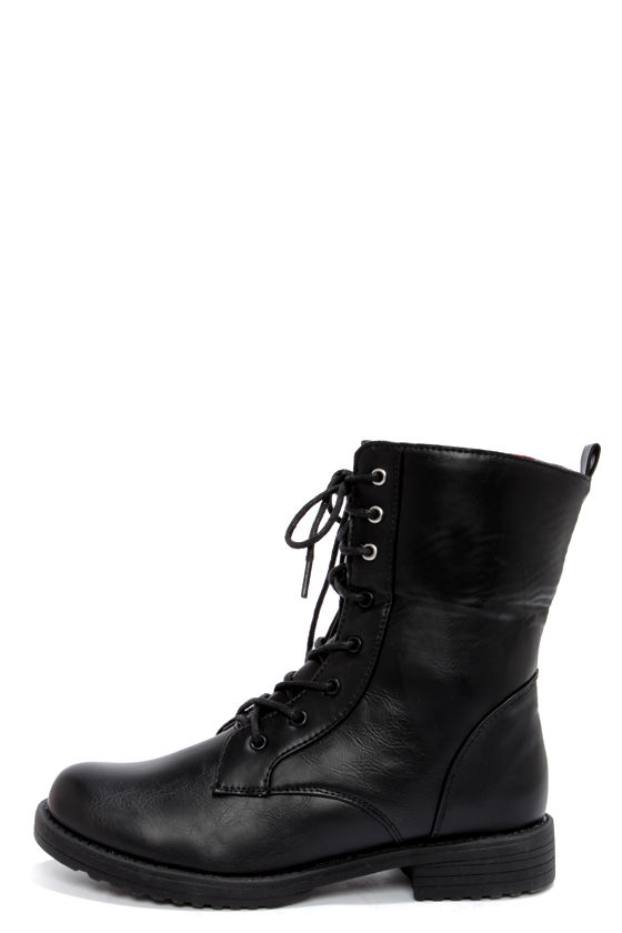 Dollhouse Strength Black Convertible Combat Boots at Lulus.com!