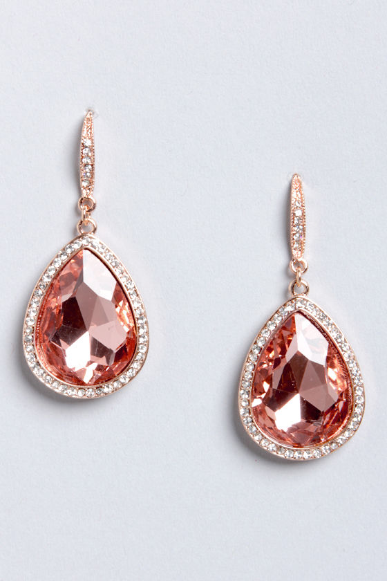Teardrop Everything Rose Gold Rhinestone Teardrop Earrings at Lulus.com!
