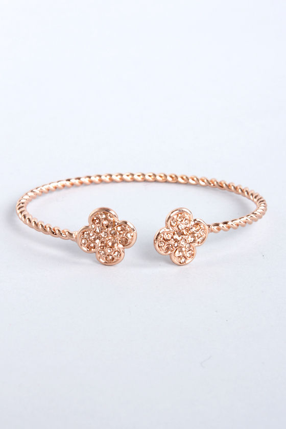 Clover It Rose Gold Clutch Bracelet at Lulus.com!