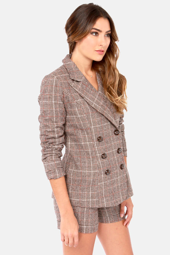 A Friend in Tweed Brown Tweed Jacket at Lulus.com!